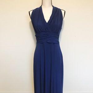 Evan Picone Blue Sleeveless V-Neck Maxi Dress